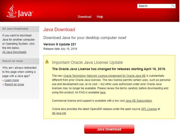 java windows 10 PC