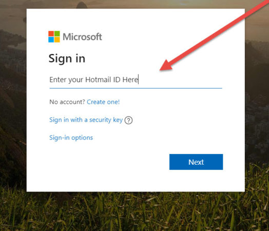 In hotmail sign