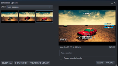 Screenshots of cars from a video game in Steam